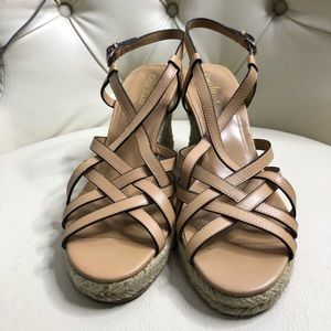 Cole Haan Brown Strappy Wedge